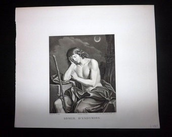 Massard after Guercino C1815 Antique Print. Someil d'Endymion