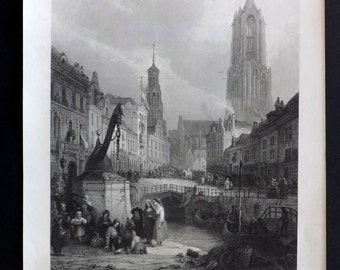 After Jones C1860 Antique Art Journal Print. Utrecht, Netherlands