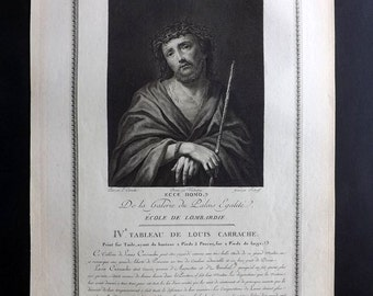 Vendenberg & Suderoff after Carracci 1786 Antique Print. Ecce Homo