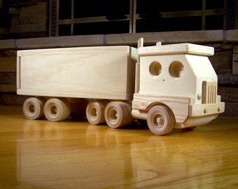 Handmade Wooden Semi-Truck Toy