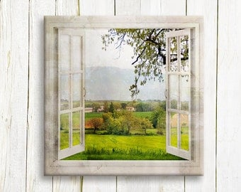 Housewarming gift - Window view of a Tuscany Landscape art printed on canvas - Home decor