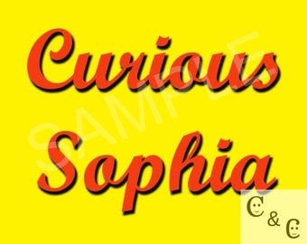 Personalized Curious George Digital Print, RED text, Custom Wall Decor, Nursery Name art