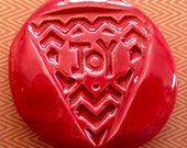 JOY Pocket Stone - Ceramic - SCARLET Art Glaze - Inspirational Art Piece by Inner Art Peace