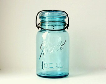 Blue Mason Jars, Vintage Blue Ball Ideal Canning Jars with Bail Top Blue Glass Lids, Wire Top Fruit Jars
