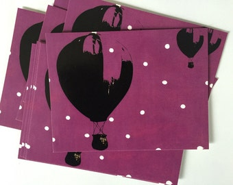 Hot Air Balloon Flat Cards/Postcards (6)