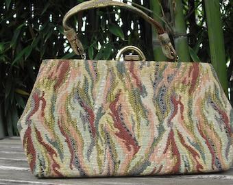Vintage Tapestry Hand Bag Purse