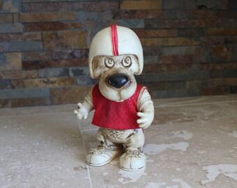 Football dog coin bank - dog piggy bank - 1977 Creative Mfg Inc dog bank - 1970s dog bank - dog troll - coyote wolf football bank