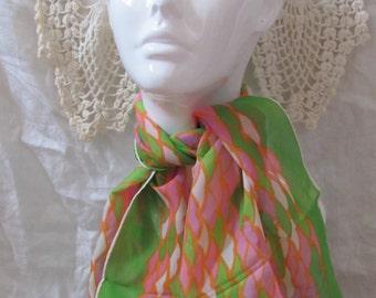 "Green Orange Sheer Rayon Soft Silk Scarf  15"" x 40"" Long - Affordable Scarves!!!"