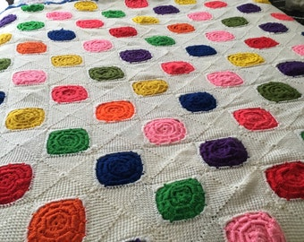 Beautiful Vintage Hearty Multi Color Dot Afghan