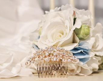 New! Gold-Toned Rhinestone Bridal Comb Head Piece