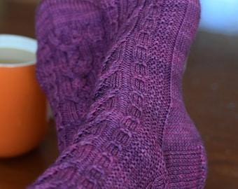 Cables and Textured Knit Socks Pattern - INTERLACED SOCKS Knitting Pattern PDF - Digital Download