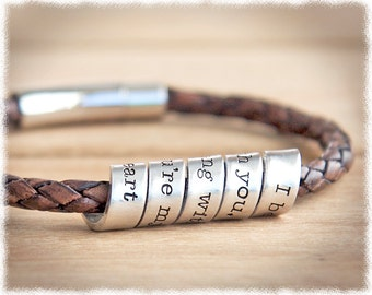 Hidden Message Bracelet • Mens Anniversary Gift • Personalized Leather Bracelet