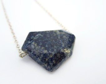 Large lapis and sterling silver necklace, navy blue lapis lazuli necklace, faceted lapis lazuli, genuine lapis gemstone, blue gemstone