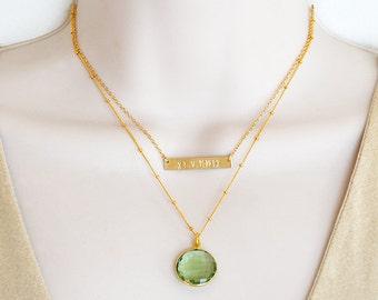 Roman Bar + Custom Birthstone necklace, double strand necklace, nameplate bar, Roman Numeral Necklace, Wedding Date Necklace Name Necklace