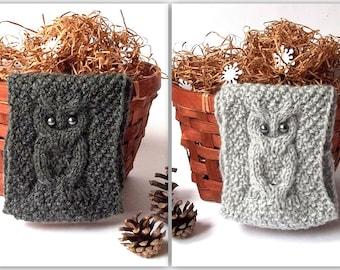 SALE - 10% OFF! Knit Owl Headband. Knit Head Wrap. Knitted Head Warmer. Hand Knitted Headband with Owl. Winter Headband. Pick Your Color.