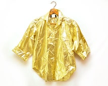 80s Gold Button Down Metallic Blouse Top Womens Medium