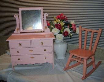 vintage childs toy pink dresser with mirror