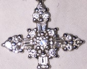 Stunning CZ Cross Cubic Zirconia Pendant for Necklace Vintage Sterling Silver Cubic Zirconia Cross