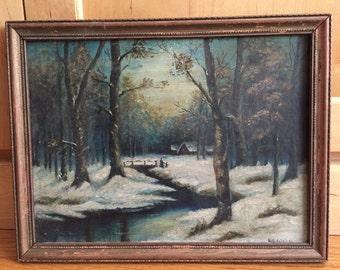 Original Victorian Oil Painting Rustic Winter Scene Oil on Board Framed Very Old House in Woods Creek Bridge