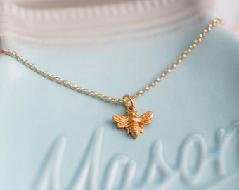 Queen Bee Charm Necklace - Bee Charm Necklace- Queen Bee Charm -  Gold Bee - Honey Bee Charm - Queen Been - Golden Bee - Bee Theme