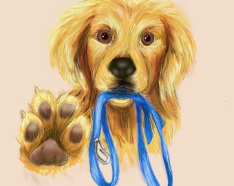 Golden Retriever digital art, dog wall art, instant download dog print, dog lover gift, dog digital wall art