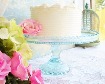 Vintage Jeannette Cake Stand In Aqua Wedding Cake Stand  Retro For Wedding ,Tea Party ,Serving ,Showers Gift For Her Shabby Chic 10 Inch