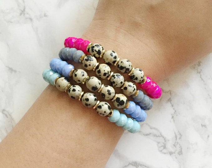 Polka Dot Beaded Bracelet - Choose from Hot Pink, Gray, Lavender, or Light Blue