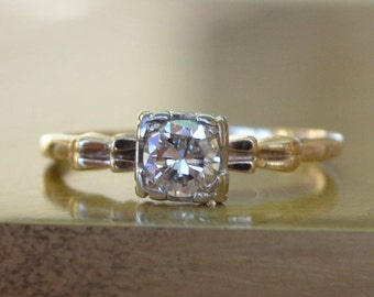 Hollywood Regency Diamond Solitaire: Half Carat Old European Mine Cut // Two-Tone White & Yellow Gold Engagement Ring,