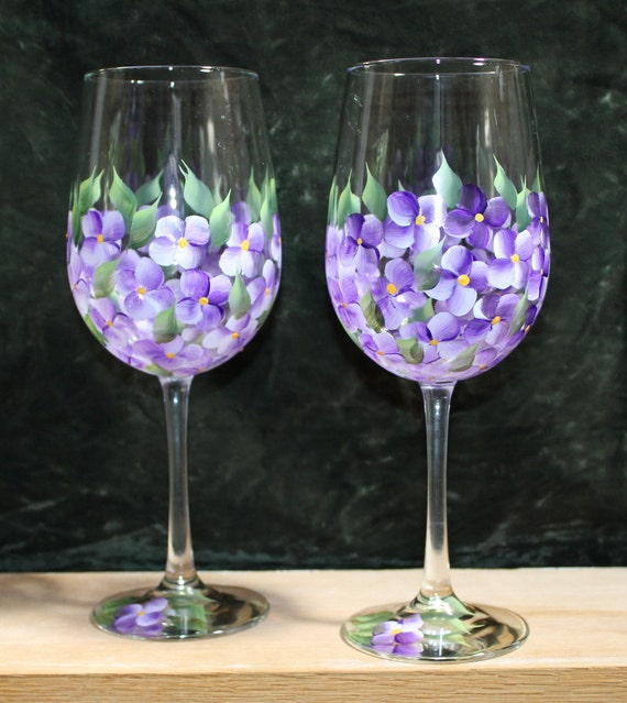 Hand Painted Wine Glasses Set Violets Clear Glass