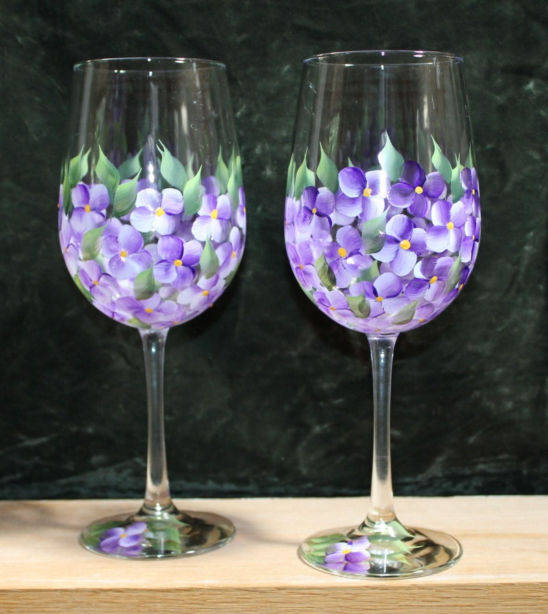 Hand painted wine glasses set of 2 violets on clear glass Images of painted wine glasses