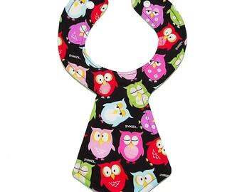 Sleepy Owl Necktie Bib