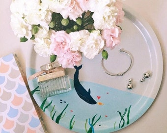 I whale always love you - ocean blue round birchwood tray