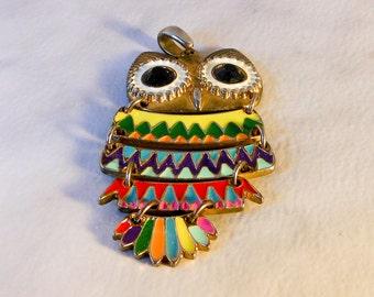 Vintage  Multi Colored Owl Pendant   Gold Tone   Zuni Style