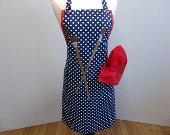 Full Artist Apron In Blue Polka Dots With Appliqued Paint Brushes