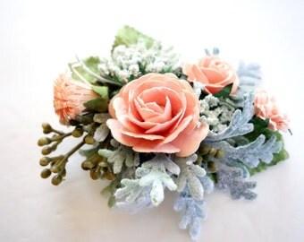 Bridal Hair Clip, Peach Wedding, Bridal Hairpiece, Peach Hair Clip, Flower Girl Hair, Boho Wedding, Bridal Hair Accesory, SORBET