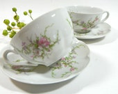 Two Vintage Theodore Haviland France Rosalinde Cups and Saucers