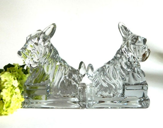 Glass Scottish Terrier Bookends