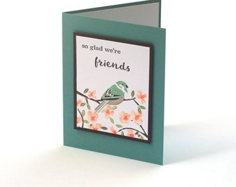 Bird friendship card, sparrow, friends, thinking of you blank card, cherry blossoms