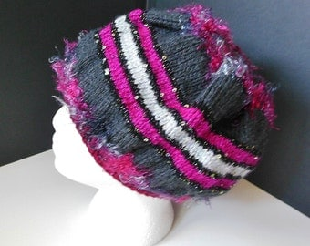 Fuchsia Gray Black Sequins Glitter Sparkle Fun Fur Hand Knit Faux Beret Slouchy Hat Teen Adult OOAK