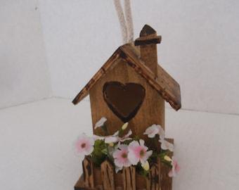 Enchanting ...Wood Burned  Fairy House and Bird House...Great Gift Idea.......OOAK