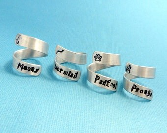 Marauders - Choose ONE Hand Stamped Aluminum Wrap Ring