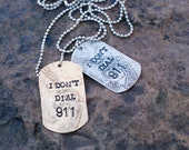 Hand Stamped Etched Dog Tags Gun Lovers Unisex Necklace