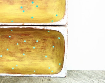 Catch All Bowls - 2 - Turquoise Gold White - Rustic Modern - Upcycled Eco-Friendly