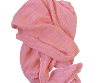 Grapefruit Swaddle Blanket, Gauze Swaddle Blanket, Coral Swaddle Blanket