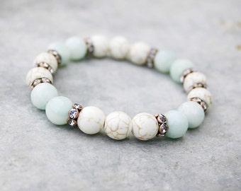Beaded Bracelet - Yoga Beaded Stretch Bracelet - Amazonite and Magnesite