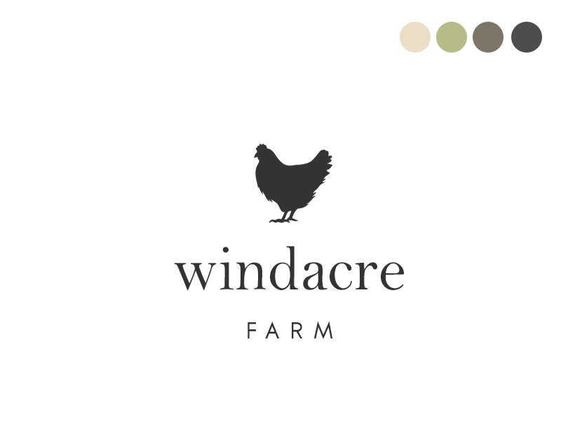 Farm Logo Design. Hen Logo. Chicken Logo. Cockerel Logo. Black Chicken Farm Logo Design
