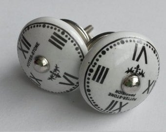Pair of Ceramic French Style Drawer Knobs - White Cabinet Knobs or Pulls with Clock Face