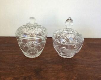 Set of 2 Vintage Cut Glass Jars with Lids