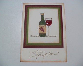 Birthday Card - Wine Card - Aged to Perfection - BLANK Inside