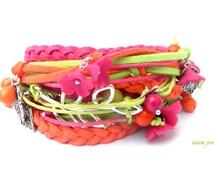 Flower Bracelet Boho Wrap Bracelet Berry Jewelry Colourful Bracelet Flower Jewelry Handmade Bracelet Cotton Cord Bracelet Charm Bracelet